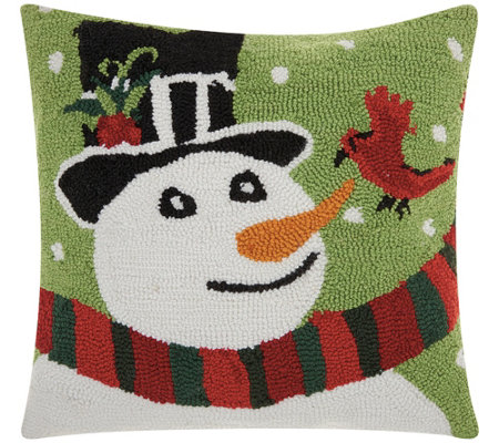 "Mina Victory Snowman/Bird Multicolor 18"" x 18""Throw Pillow"