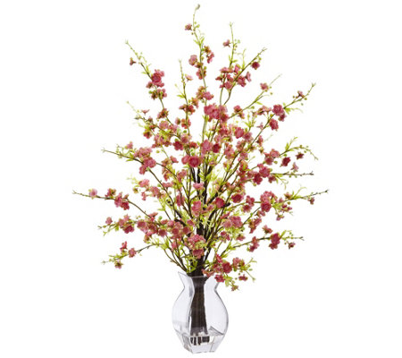 Cherry Blossom In Glass Vase By Nearly Natural