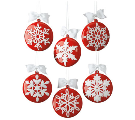 DII Snowflake Hand-Painted Ornaments S/6