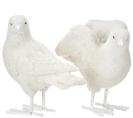 Set of 2 Sugared and Flocked Doves by Valerie