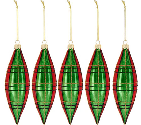 Set of 5 Glittered Plaid Drop Ornaments by Valerie