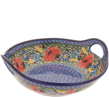 Lidia's Polish Pottery Hand-Painted Pasta Bowl with Handles
