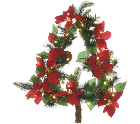 As Is Casa Zeta Jones Indoor Outdoor Lit Poinsettia Wreath W Timer