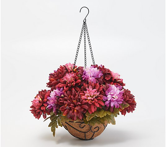 Bethlehem Lights Prelit Indoor/Outdoor Harvest Mum Hanging Basket