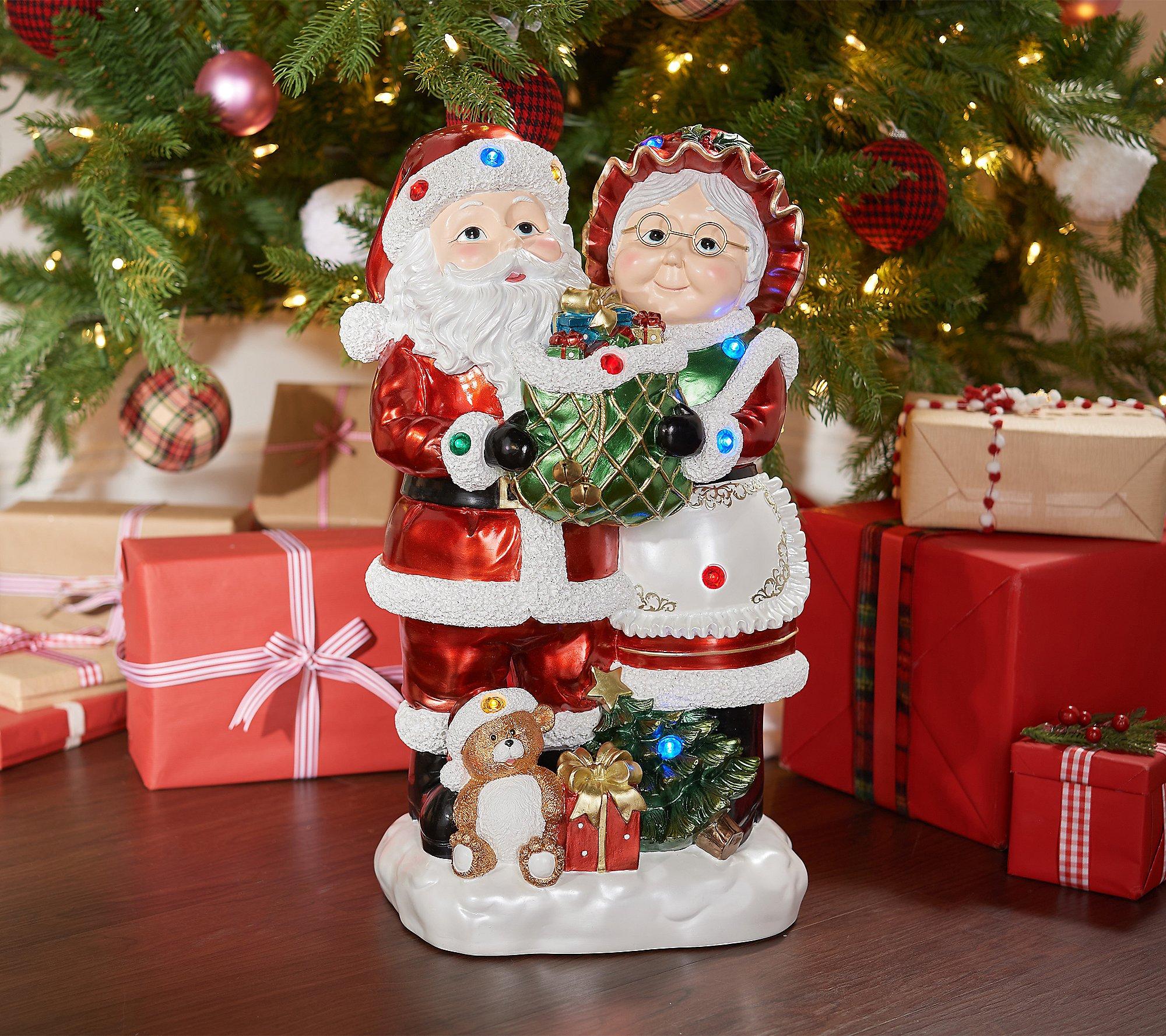 "Kringle Express 22"" Resin Indoor/Outdoor Santa & Mrs. Claus"