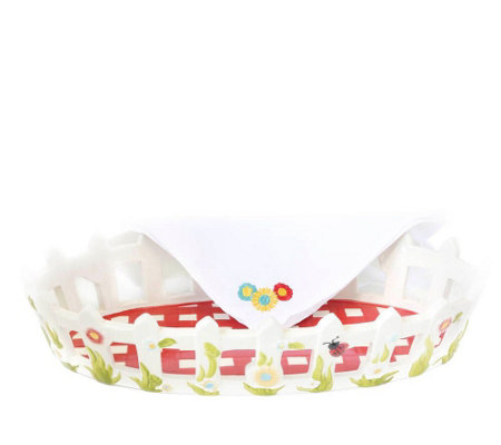 Temp-tations Gingham Garden Bread Basket with Napkin