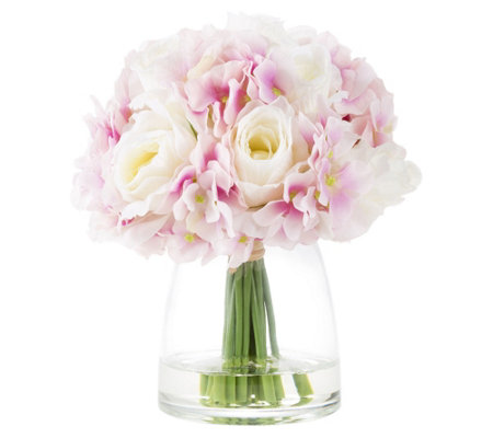 Hydrangea and Rose Pink Artificial Flowers by Pure Garden