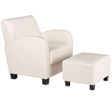 Chair with Ottoman in Cream Faux Leather by Office Star