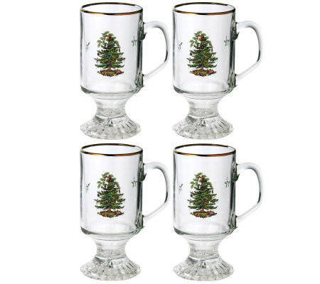 Spode Christmas Tree Glass Irish Coffee Mugs -Set of 4