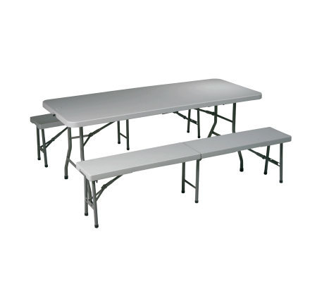 Office Star Light Gray 3 Piece Folding Table and Bench Set