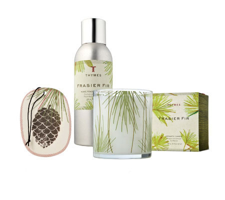 Thymes Frasier Fir Home Fragra Gift Set with Candle, Fragran Mist, & Sachet
