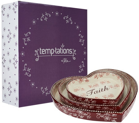 Temp-tations Floral Lace S/3 Nested Heart Lid-its and Gift Box