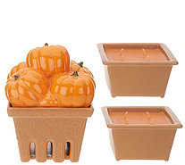 HomeWorx by Harry Slatkin Ceramic Pumpkin Basket with (2) 9-oz Candles - H214514