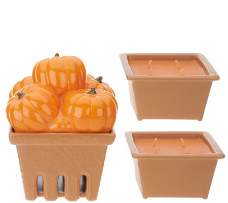 HomeWorx by Harry Slatkin Ceramic Pumpkin Basket with (2) 9-oz Candles