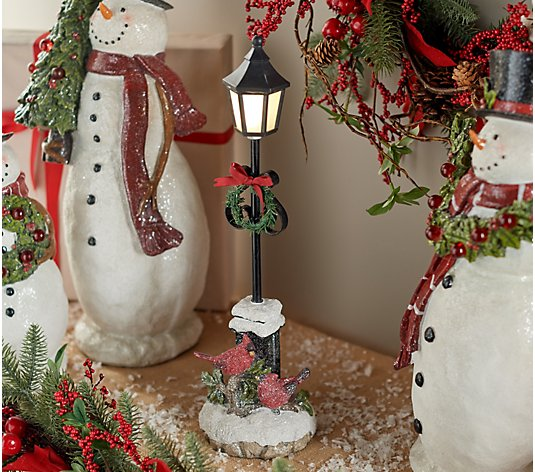 "Illuminated 16"" Decorative Lamp Post with Cardinals by Valerie"