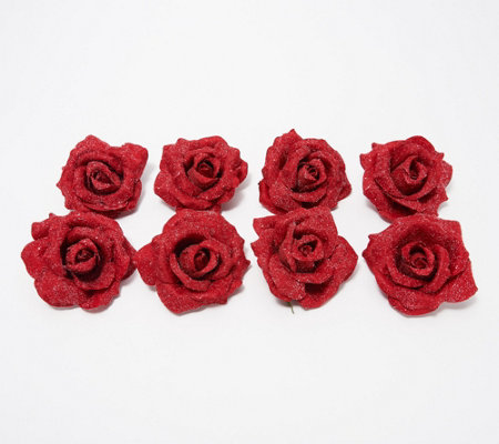 Set of 8 Frosted Rose Decorative Clips by Valerie