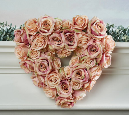 "14"" Vintage Rose Heart-Shaped Wreath by Valerie"
