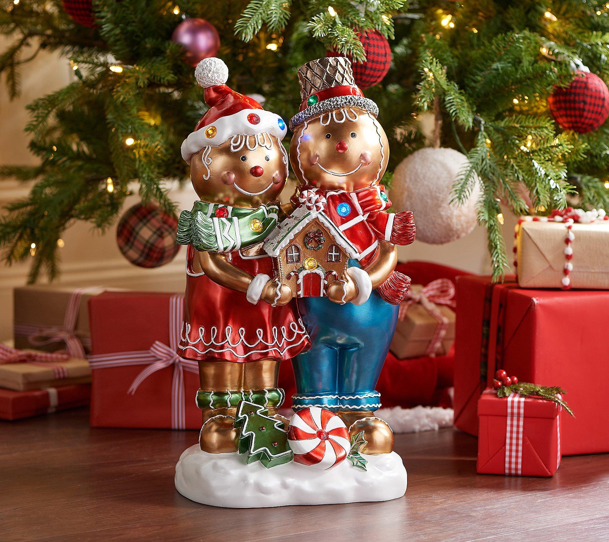 """Kringle Express 22"""" Resin Indoor/Outdoor Gingerbread Duo"""
