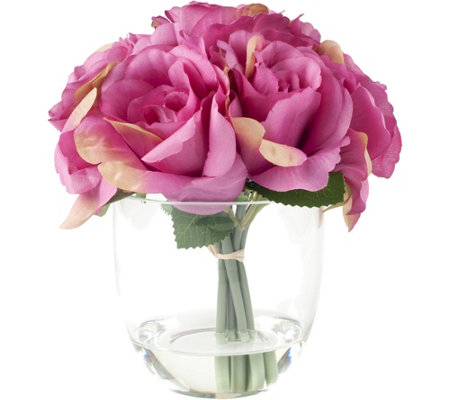 Pink Rose Floral Arrangement with Glass Vaseby Pure Garden