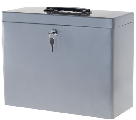 Stalwart Locking Steel Security Filing Box - Large - Gray — QVC com