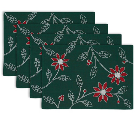 Design Imports Poinsettia Embroidered Placematset Of 4