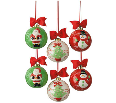 DII Santa, Snowman & Christmas Tree Hand-Painted Ornaments S/6