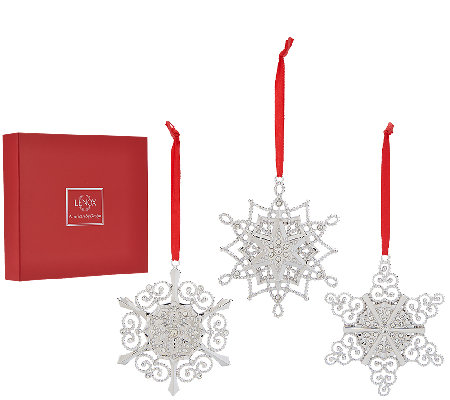 Lenox Set of 3 10K Gold Plated Snowflake Ornaments with Gift Boxes
