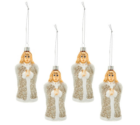Set of 4 Embellished Glass Vintage Inspired Ornaments