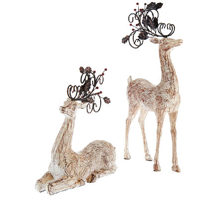 """As Is"" Set of 2 Decoratibe Scroll Reindeer"