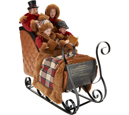 Dickens Carolers in Chestnut Sleigh by Valerie