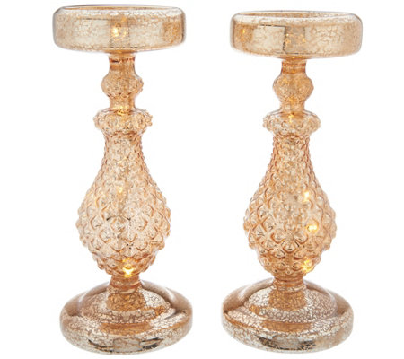 "Dennis Basso S/2 10"" Lit Mercury Glass Candle Holders with Timer"