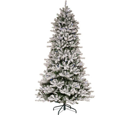 """As Is"" Santa's Best 7.5' Flocked 137 Function LED Smart Tree"