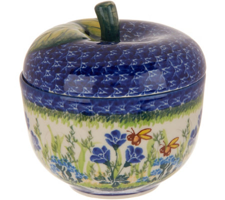 Lidia's Polish Pottery Hand-Painted Figural Apple Canister