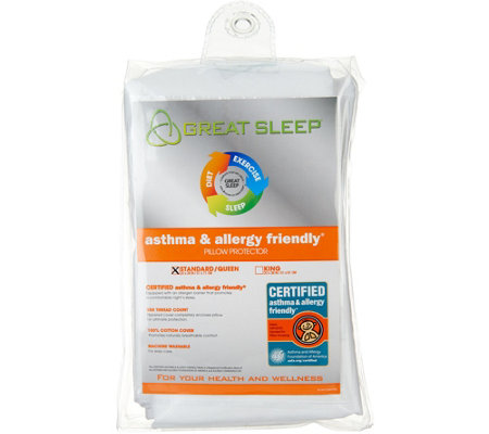 Great Sleep Set of 2 Jumbo Pillow Protectors with Allergy Barrier