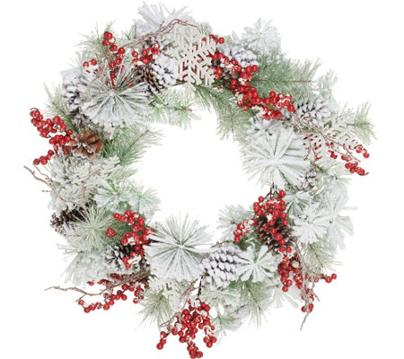 Fresh Snowfall Snowflake Berry 26 Wreath By Valerie
