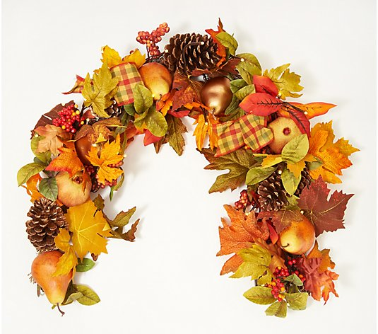 Bethlehem Light Indoor/Outdoor Prelit 4' Autumn Fruit Garland