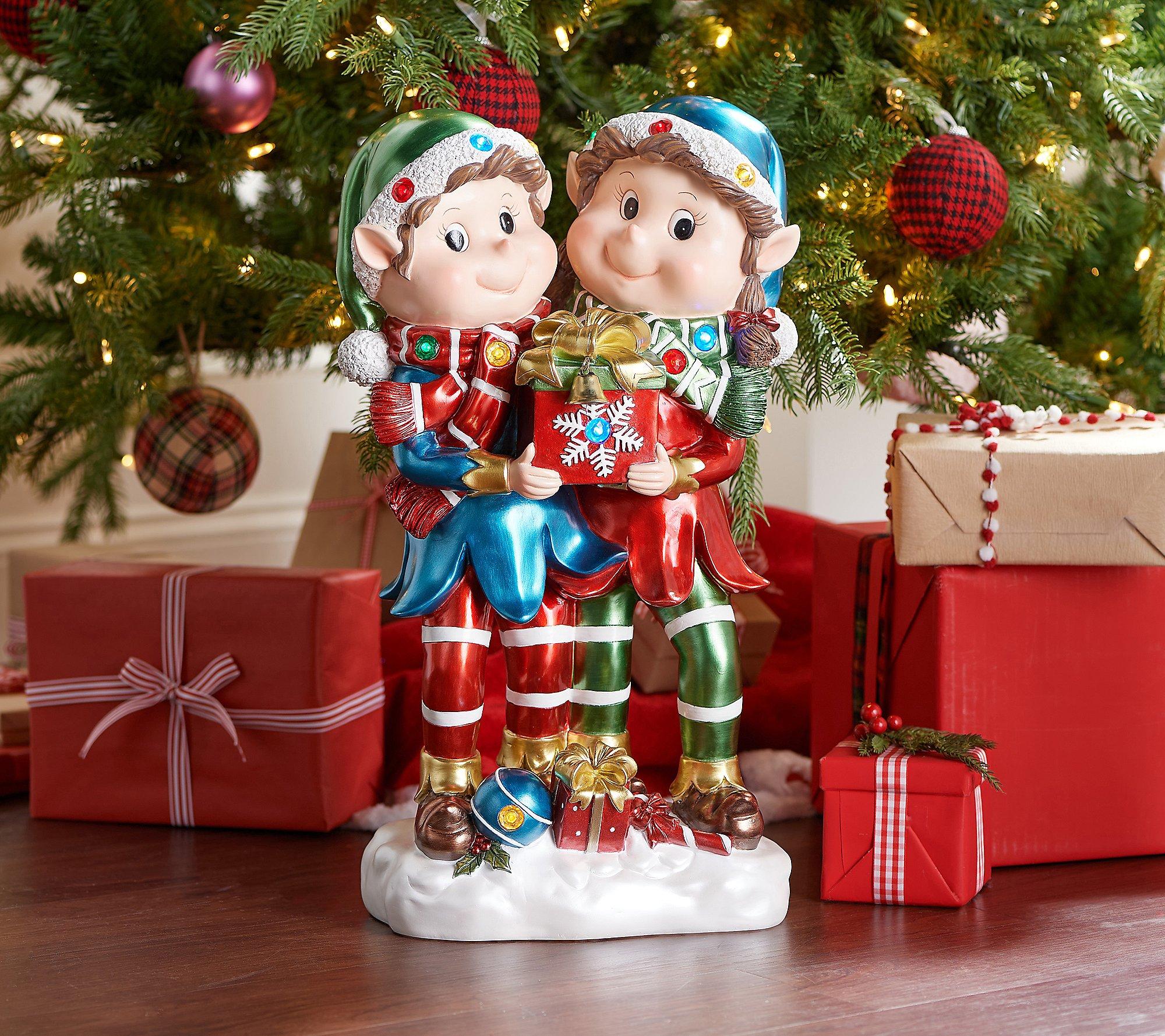 """Kringle Express 22"""" Resin Indoor/Outdoor Elf Duo"""