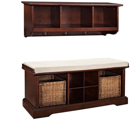 Crosley Brennan 2-Piece Entryway Bench and Shelf Set