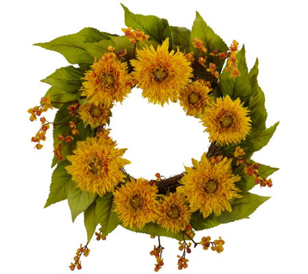 "22"" Golden Sunflower Wreath by Nearly Natural"