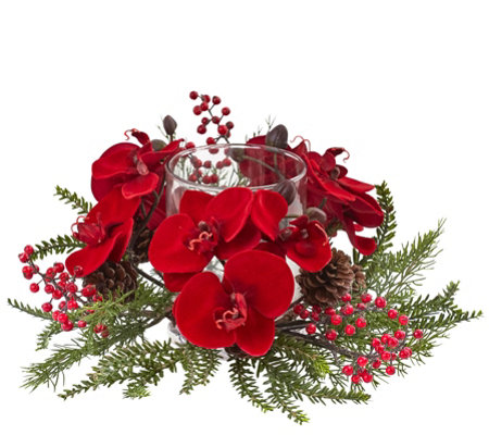 Orchid, Berry & Pine Holiday Candelabrum by Nearly Natural