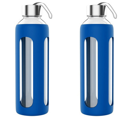 Classic Cuisine Set of (2) 20-oz Glass Water Bottles - Blue