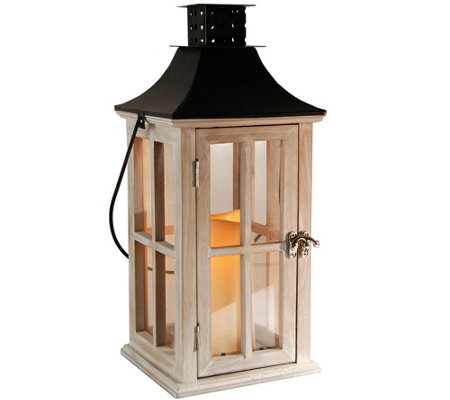 LumaBase White Wash Wood & Metal Lantern w/ Flameless Candle