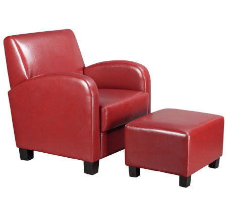 Chair with Ottoman in Crimson Red Faux Leatherby Office Star