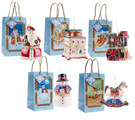 Mr. Christmas Set of 5 Porcelain Music Box Ornaments