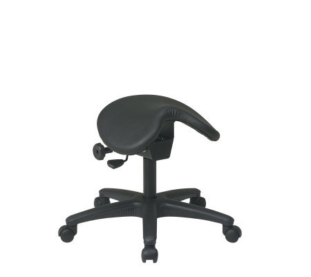 Office Star Black Saddle Stool with Seat AngleAdjustment