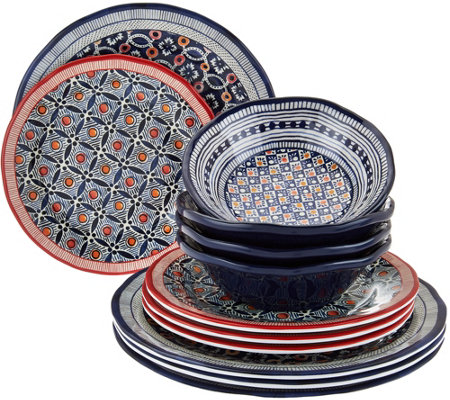 ED On Air 12/pc Celia Geo Dinnerware Set by Ellen DeGeneres
