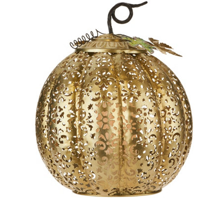 "13.5"" Lit Punched Metal Pumpkin by Home Reflections"