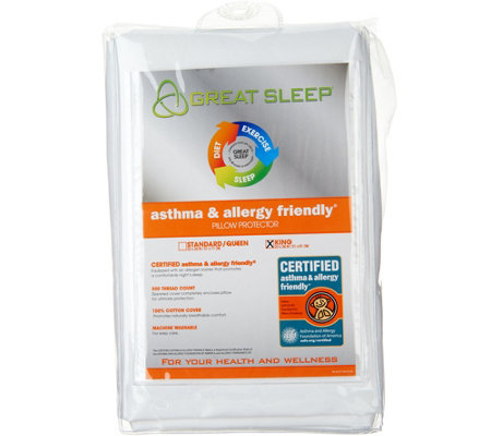 Great Sleep Set of 2 King Pillow Protectors with Allergy Barrier
