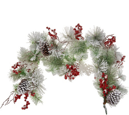 Fresh Snowfall, Snowflake & Berry 4' Garland by Valerie
