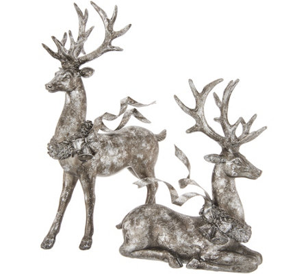 """As Is"" Set of 2 Deer W/ Flowing Ribbon by Valerie"